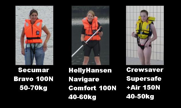 Seumar Bravo 100N 50-70kg - HellyHansen Navigare Comfort 100N 40-60kg - Crewsaver Supersafe +Air 150N 40-50kg